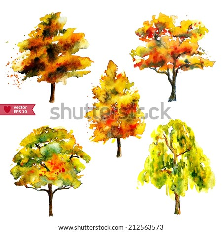 hand drawing by water color a vector set of  autumn trees - stock vector