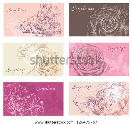Hand drawing card flower background - stock vector