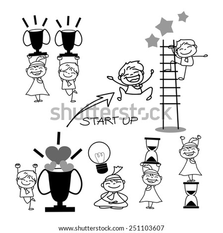 hand drawing cartoon business concept illustration - stock vector
