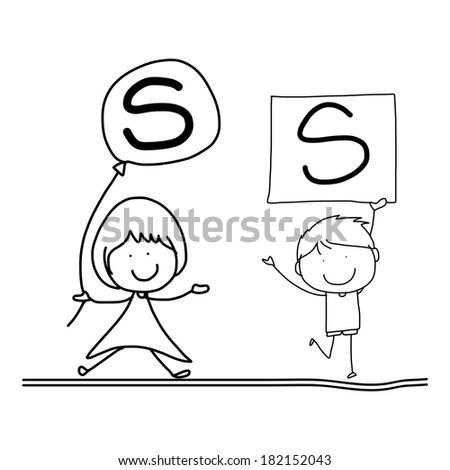 hand drawing cartoon character happiness alphabet S - stock vector