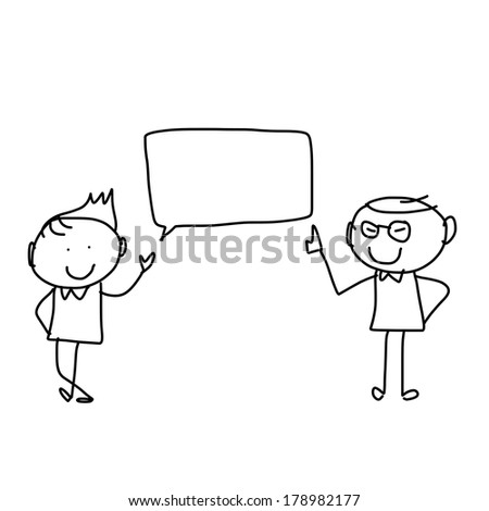 hand drawing cartoon character happiness businessmen discuss business plan - stock vector