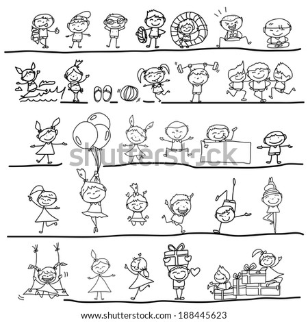 hand drawing cartoon character happy kids playing - stock vector