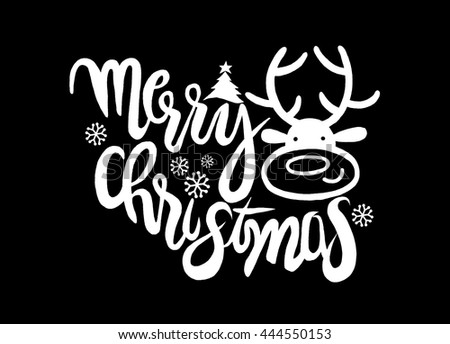 Hand drawing cartoon character.Merry Christmas .Vector Christmas card with cute reindeer.Doodles vector illustration. - stock vector