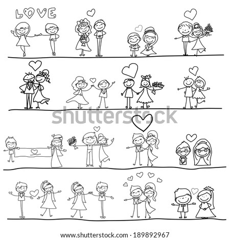 hand drawing cartoon happy couple wedding - stock vector