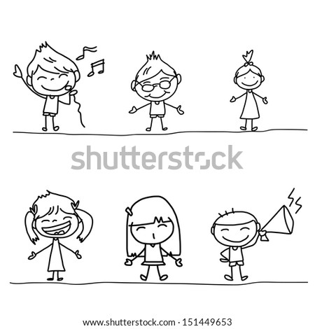 hand drawing cartoon happy kids playing  - stock vector