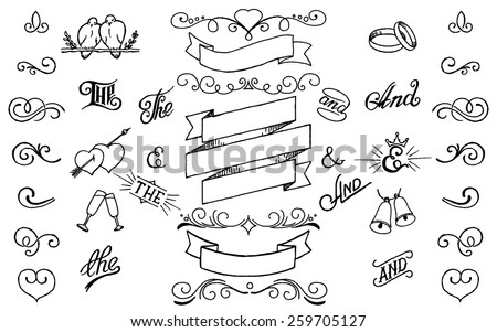 Hand drawing decor elements set.For invitations,weddings,holidays,design templates. - stock vector