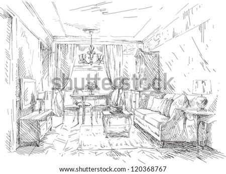 Hand drawing details of the interior - stock vector