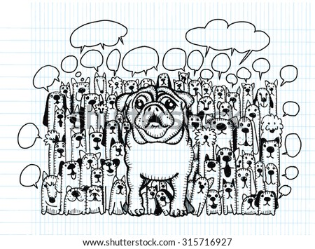Hand drawing Doodle cute dogs group and speaking bubble,Vector Illustration Design Elements on Lined Sketchbook Paper Background - stock vector