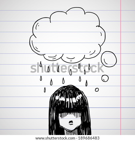 hand drawing doodle sketch avatar, vector illustration - stock vector