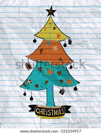 Hand drawing Doodle textured Christmas tree-baubles background.,Flat Design Vector illustration.