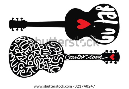 Hand drawing Doodle two acoustic guitars on Note sheet,love music,Flat Design.Vector illustration - stock vector