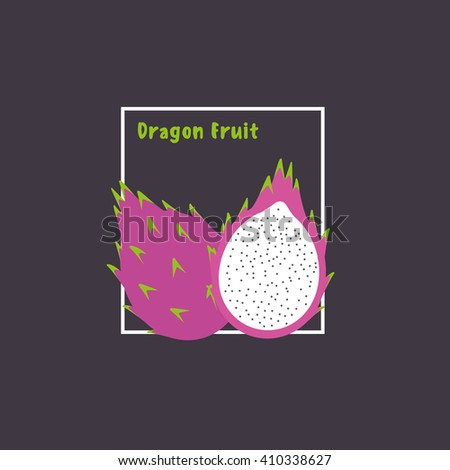 Hand drawing dragon fruit with slice on dark background. Exotic tropical fruit. Flat design icon, isolated object. Vector illustration. - stock vector