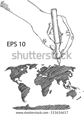 Hand drawing Earth Globe with World map Detail Vector Line Sketch Up Illustrator, EPS 10. - stock vector