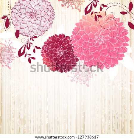 Hand-drawing floral background with flower dahlia. Element for design. - stock vector