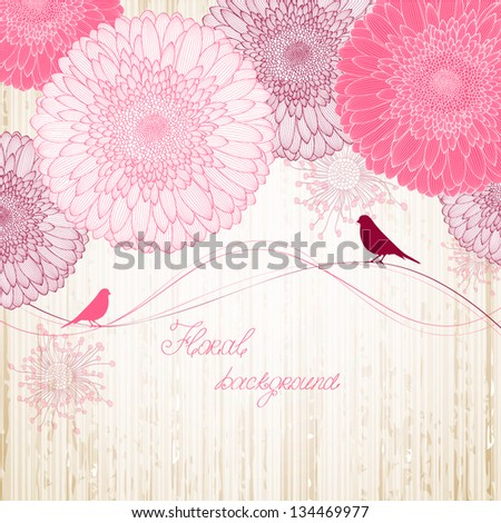 Hand-drawing floral background with flower gerbera and with bird. - stock vector