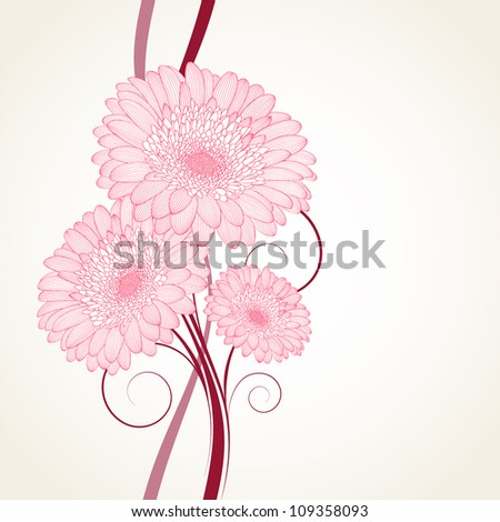 Hand-drawing floral background with flower gerbera. Element for design. - stock vector
