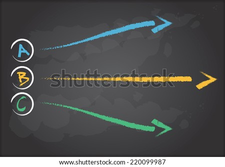 Hand drawing flow chart on chalkboard, abstract illustration - stock vector