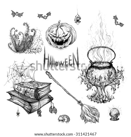 Hand drawing in black on a white background, vector illustration, pattern Halloween. Pumpkin, magical cauldron, broom, bats, books, spiders, magic ball, fern, spider webs. - stock vector