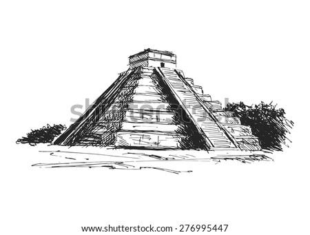 hand drawing maya pyramid - stock vector