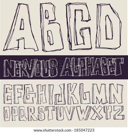 Hand drawing nervous alphabet. Vector  - stock vector