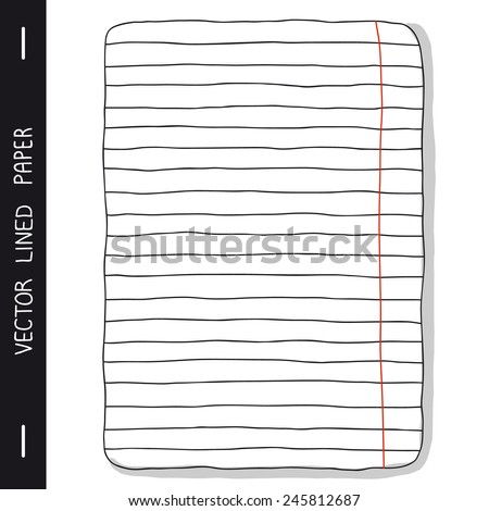 Hand-drawing notebook sheet in line with the red field. Clip art. Vector EPS10. - stock vector