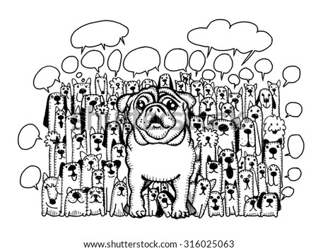 Hand drawing of cute doodle dogs group and speaking bubbles, Vector Illustration - stock vector