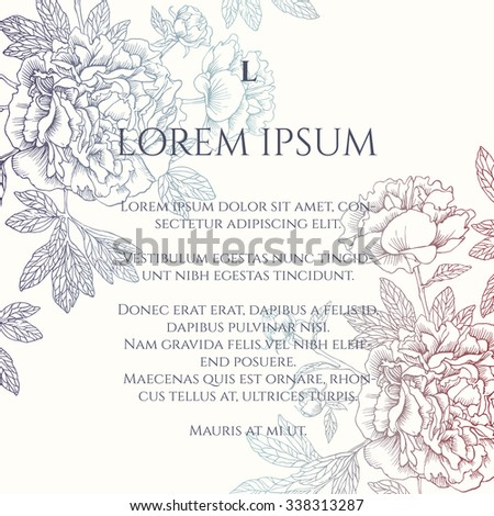 Hand-drawing  peonies. Vector graphic flowers. Decorative background for cards, invitations.Template card with gradient flowers. Wedding invitation. EPS 10. - stock vector