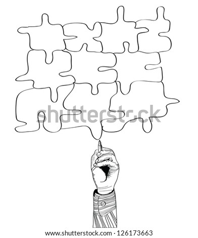 hand drawing puzzle by pen. Vector illustration - stock vector