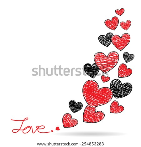Hand drawing red and black hearts frame, Valentines background, Vector Illustration EPS 10. - stock vector