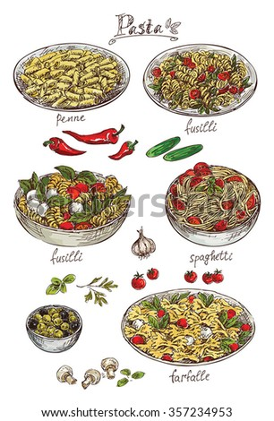 hand drawing set of pasta - stock vector