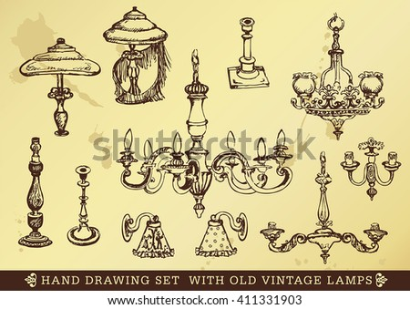 hand drawing set with old vintage lamps  - stock vector