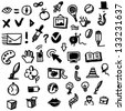 Hand drawing sketch icon set of different objects - stock vector