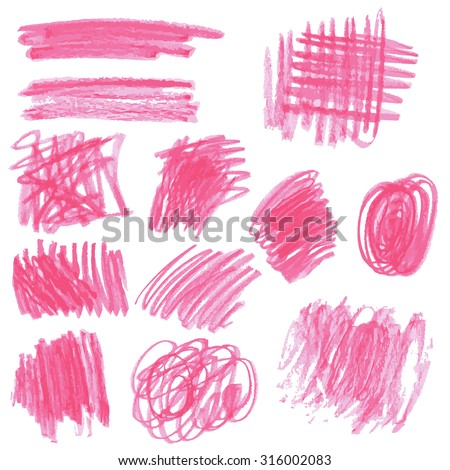 Hand drawing sketches, strokes of pink colored pencils - stock vector