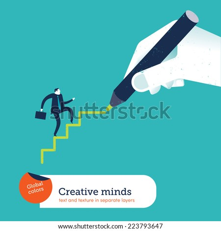 Hand drawing stairs for a businessman. Vector illustration Eps10 file. Global colors. Text and Texture in separate layers. - stock vector