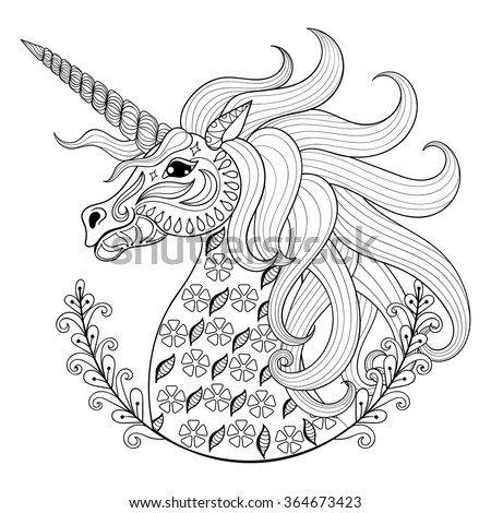 Hand drawing Unicorn for adult anti stress coloring pages, artistic fairy tale magic animal in zentangle tribal style, patterned illustartion, vector tattoo. Ornamental sketch. - stock vector