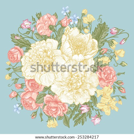 Hand-drawing vintage card with a bouquet of flowers on a blue background.  Peonies, roses, sweet peas, bell. Vector illustration.  - stock vector