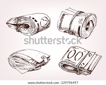 hand drawing wallet and money, vintage - stock vector