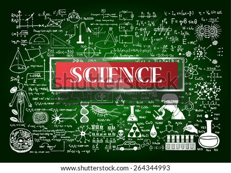Hand drawn about Mathematics on green chalkboard with the world SCIENCE in transparent frame with red background. - stock vector