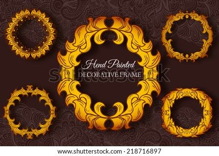 Hand drawn abstract background decorative hand painted frames set concept. Vector  retro banner of card or invitation design. Vintage traditional, Islam, arabic, indian, ottoman motifs, elements.   - stock vector