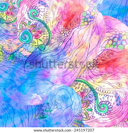 Hand drawn abstract background ornament illustration concept. Lace pattern design. Vector decorative card or invitation design. Vintage traditional, Islam, arabic, indian, ottoman motifs, watercolor - stock vector