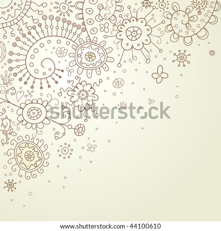 Hand-Drawn Abstract Doodles and Flowers Vector Illustration - stock vector