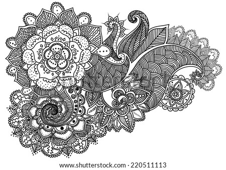 Hand-Drawn Abstract Henna Mehndi Flowers and Paisley Doodle Vector Illustration Design Elements in eps 8 - stock vector