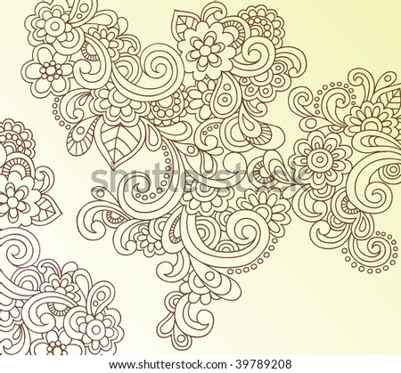 Hand-Drawn Abstract Henna Paisley Doodles and Flowers Vector Illustration - stock vector