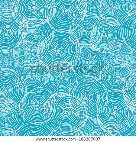Hand- drawn abstract seamless background pattern. Waves, curls, swirls theme. Vector illustration - stock vector