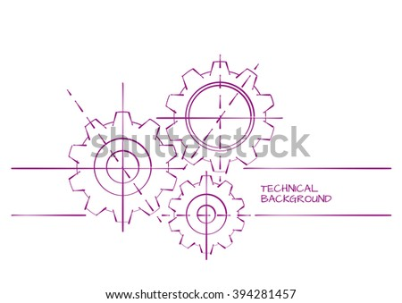 Hand Drawn Abstract Technical Background Template on White - stock vector