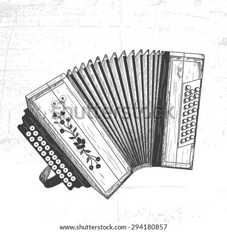 hand drawn accordion - stock vector