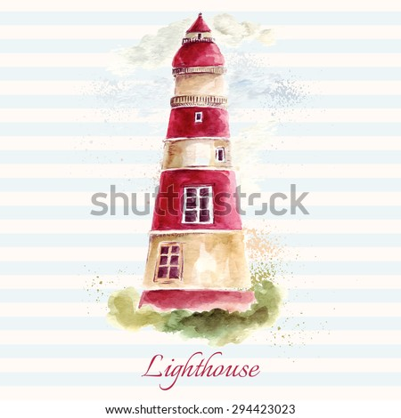 Hand drawn adorable vector lighthouse in watercolor technique.  - stock vector