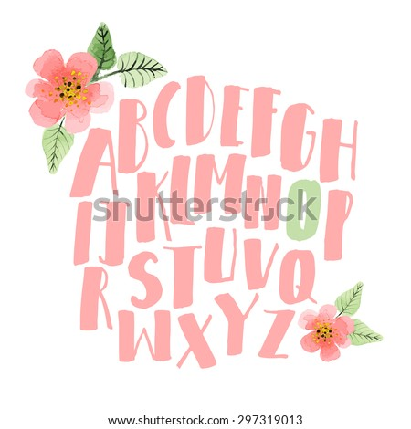 Hand drawn alphabet. Decorative letters set with watercolor flowers - stock vector