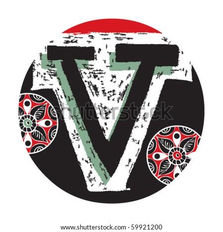 hand drawn alphabet, doodle letter V - stock vector