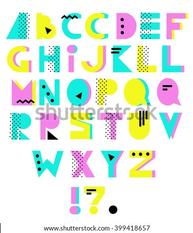 Hand drawn alphabet. Geometric funny font. Colorful vector letters. 80s - 90s style - stock vector